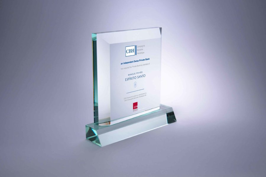 CBH Financial Tombstone  NEW SETUP Glass Plaque Version 2:  Float Glass plaque on a Float Glass Base
